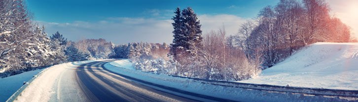 road in winter with snow