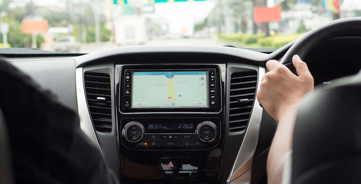 Sat Nav Being Used In Car